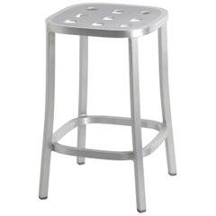 Emeco 1 Inch All Aluminum Counter Stool by Jasper Morrison, 1stdibs Exclusive