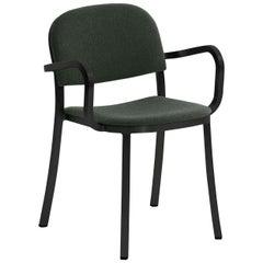 Emeco 1 Inch Armchair in Black Frame & Green Upholstery by Jasper Morrison