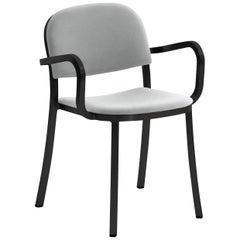 Emeco 1 Inch Armchair in Black Frame & Grey Upholstery by Jasper Morrison
