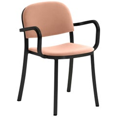 Emeco 1 Inch Armchair in Black Frame & Peach Upholstery by Jasper Morrison
