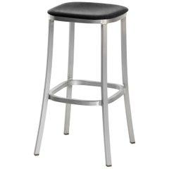 Emeco 1 Inch Barstool with Aluminum Legs & Black Upholstery by Jasper Morrison