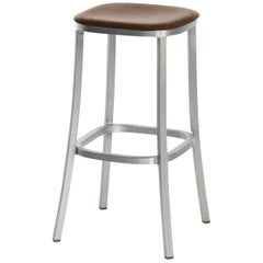Emeco 1 Inch Barstool with Aluminum Legs & Brown Upholstery by Jasper Morrison