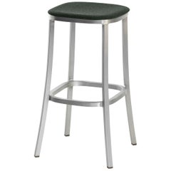 Emeco 1 Inch Barstool with Aluminum Legs & Green Upholstery by Jasper Morrison