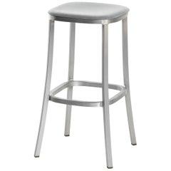 Emeco 1 Inch Barstool with Aluminum Legs & Grey Upholstery by Jasper Morrison