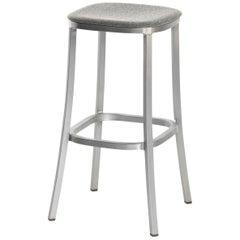 Emeco 1 Inch Barstool with Grey Upholstery & Aluminum Legs by Jasper Morrison