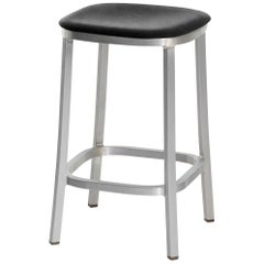 Emeco 1 Inch Counterstool with Aluminum Legs & Black Fabric by Jasper Morrison