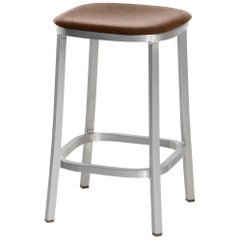 Emeco 1 Inch Counterstool with Aluminum Legs & Brown Fabric by Jasper Morrison
