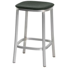 Emeco 1 Inch Counterstool with Aluminum Legs & Green Fabric by Jasper Morrison