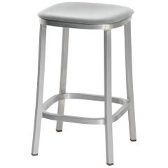 Emeco 1 Inch Counterstool with Aluminum Legs & Grey Fabric by Jasper Morrison