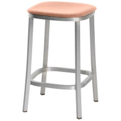 Emeco 1 Inch Counterstool with Aluminum Legs & Peach Fabric by Jasper Morrison