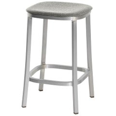 Emeco 1 Inch Counterstool with Grey Fabric & Aluminum Legs by Jasper Morrison