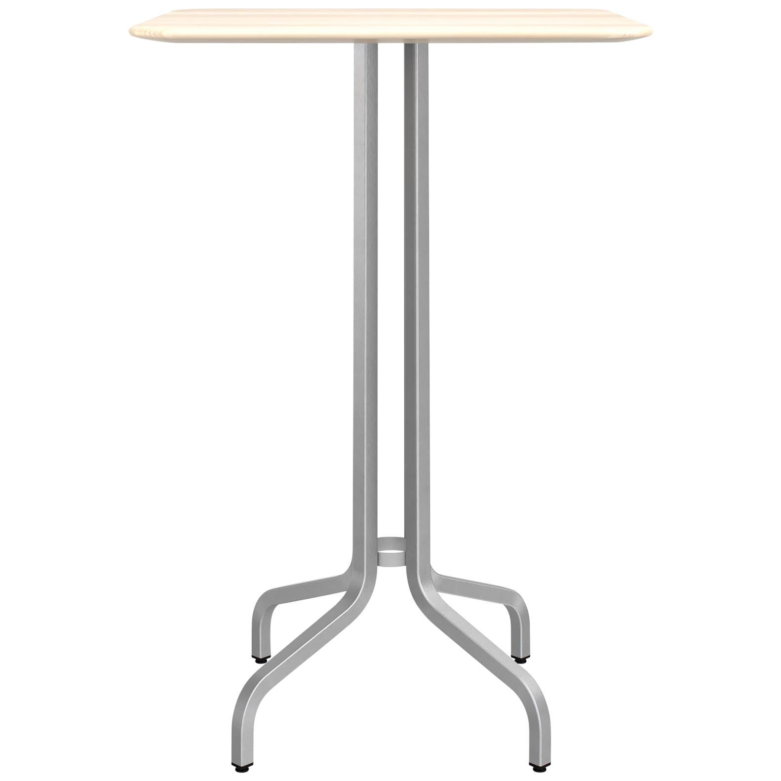 Emeco 1 Inch Large Bar Table with Aluminum Legs & Wood Top by Jasper Morrison
