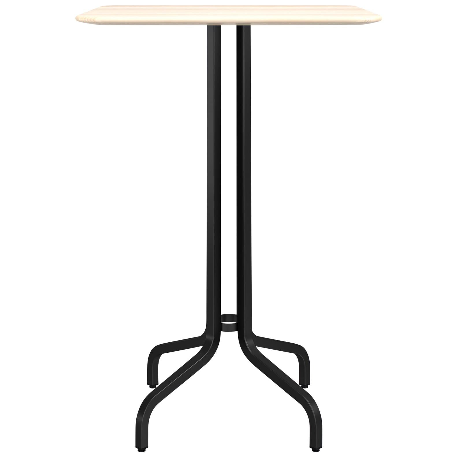 Emeco 1 Inch Large Bar Table with Black Legs & Wood Top by Jasper Morrison