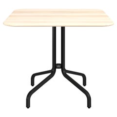 Emeco 1 Inch Large Cafe Table with Black Legs & Wood Top by Jasper Morrison