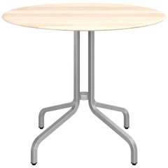 Emeco 1 Inch Large Round Aluminum Cafe Table with Wood Top by Jasper Morrison