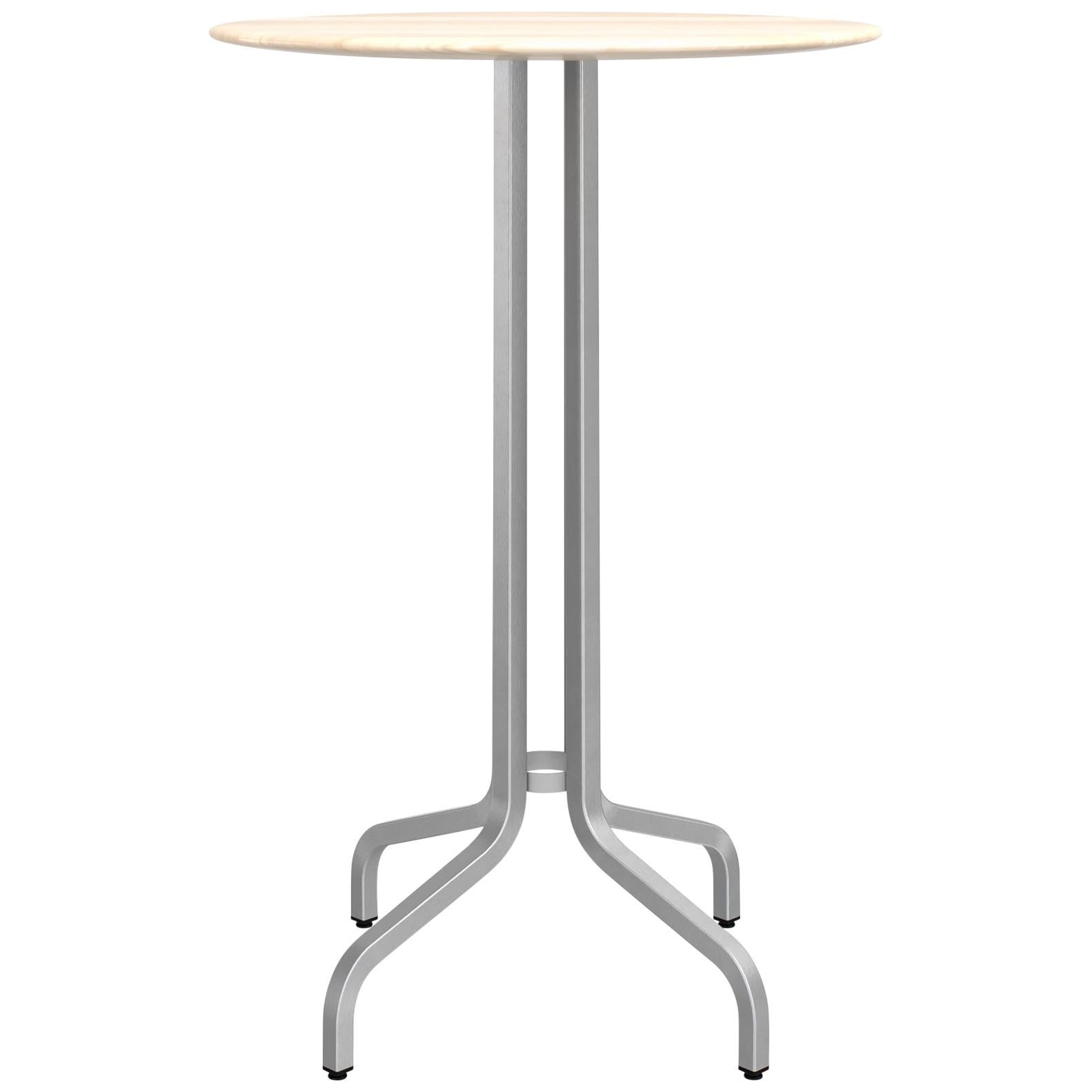 Emeco 1 Inch Large Round Bar Table with Aluminum & Wood by Jasper Morrison