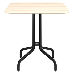 Emeco 1 Inch Medium Cafe Table with Black Legs & Wood Top by Jasper Morrison