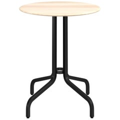 Emeco 1 Inch Round Cafe Table with Black Legs & Wood Top by Jasper Morrison