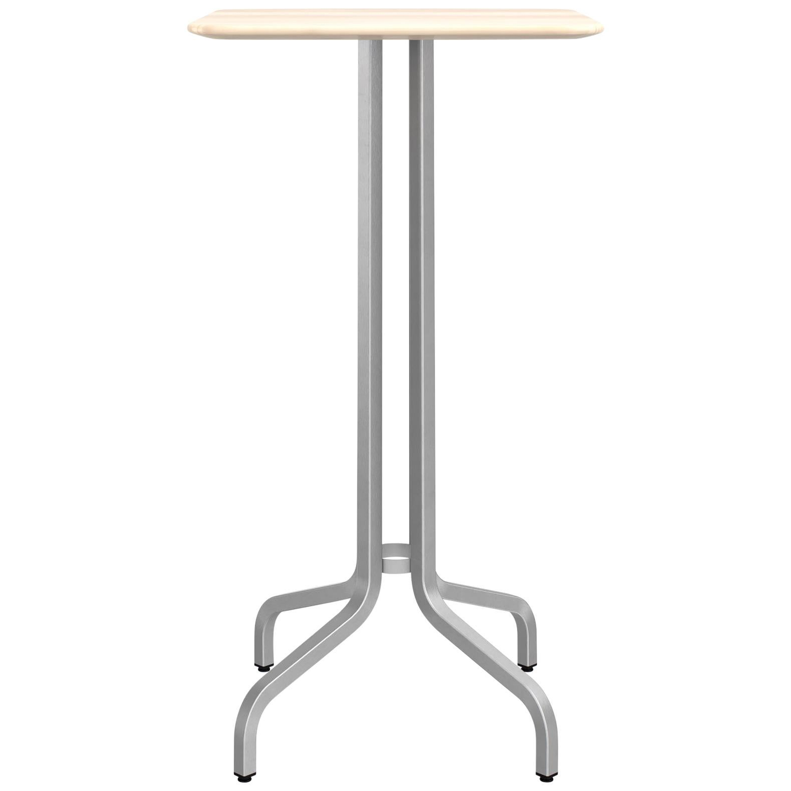 Emeco 1 Inch Small Bar Table with Aluminum Legs & Wood Top by Jasper Morrison