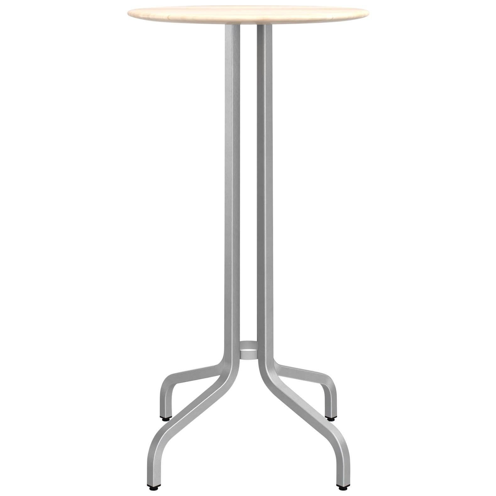 Emeco 1 Inch Small Round Bar Table with Aluminum & Wood by Jasper Morrison