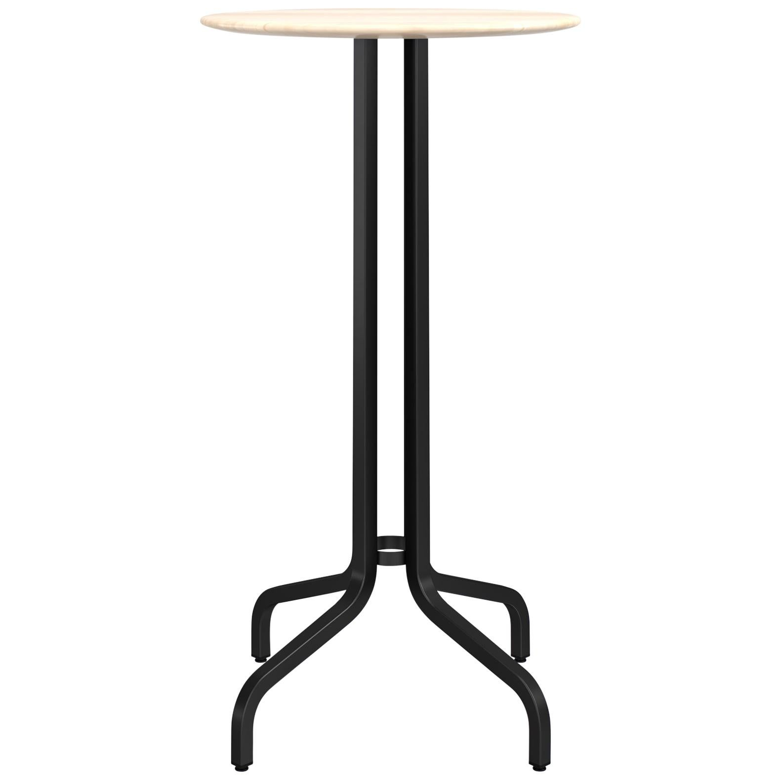 Emeco 1 Inch Small Round Bar Table with Black Legs & Wood Top by Jasper Morrison