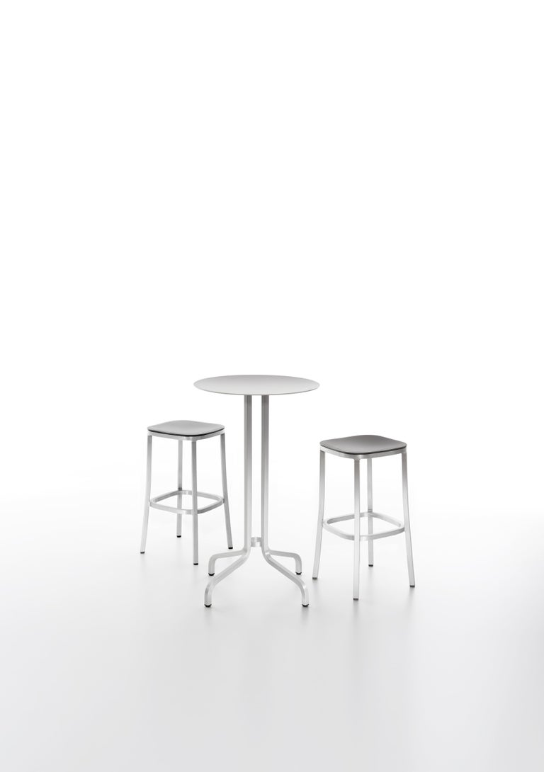 Emeco Small Stool in Dark Aluminum & Walnut by Jasper Morrison In New Condition For Sale In Hanover, PA