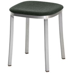 Emeco 1 Inch Small Stool with Aluminum Legs & Green Fabric by Jasper Morrison