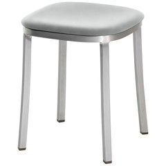 Emeco 1 Inch Small Stool with Aluminum Legs & Grey Upholstery by Jasper Morrison