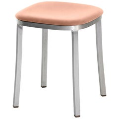 Emeco 1 Inch Small Stool with Aluminum Legs & Peach Fabric by Jasper Morrison