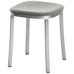 Emeco 1 Inch Small Stool with Grey Upholstery & Aluminum Legs by Jasper Morrison