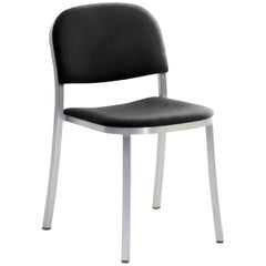 Emeco 1 Inch Stacking Chair with Aluminum Legs & Black Fabric by Jasper Morrison