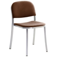 Emeco 1 Inch Stacking Chair with Aluminum Legs & Brown Fabric by Jasper Morrison