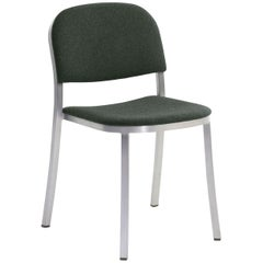 Emeco 1 Inch Stacking Chair with Aluminum Legs & Green Fabric by Jasper Morrison