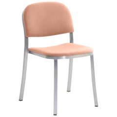 Emeco 1 Inch Stacking Chair with Aluminum Legs & Peach Fabric by Jasper Morrison