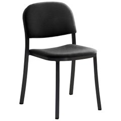 Emeco 1 Inch Stacking Chair with Black Legs & Black Fabric by Jasper Morrison