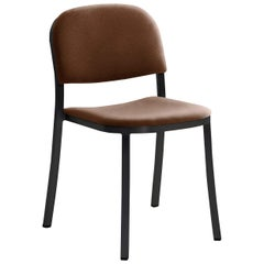 Emeco 1 Inch Stacking Chair with Black Legs & Brown Fabric by Jasper Morrison