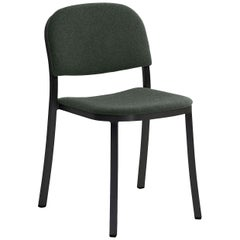 Emeco 1 Inch Stacking Chair with Black Legs & Green Fabric by Jasper Morrison