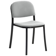 Emeco 1 Inch Stacking Chair with Black Legs & Grey Upholstery by Jasper Morrison