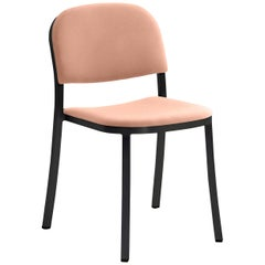 Emeco 1 Inch Stacking Chair with Black Legs & Peach Fabric by Jasper Morrison