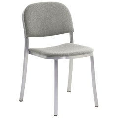 Emeco 1 Inch Stacking Chair with Grey Fabric & Aluminum Legs by Jasper Morrison