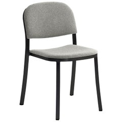 Emeco 1 Inch Stacking Chair with Grey Upholstery & Black Legs by Jasper Morrison