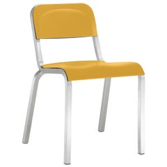 Emeco 1951 Aluminum Stacking Chair with Yellow Seat by Adrian Van Hooydonk