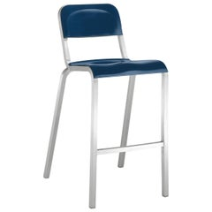 Emeco 1951 Barstool in Brushed Aluminum and Blue by Adrian Van Hooydonk