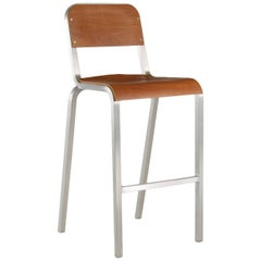 Emeco 1951 Barstool in Brushed Aluminum and Maple by Adrian Van Hooydonk