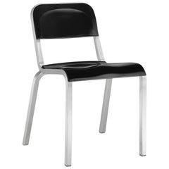 Emeco 1951 Stacking Chair in Brushed Aluminum and Black by Adrian Van Hooydonk