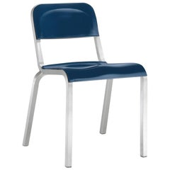 Emeco 1951 Stacking Chair in Brushed Aluminum and Blue by Adrian Van Hooydonk
