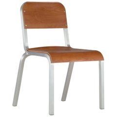 Emeco 1951 Stacking Chair in Brushed Aluminum and Cherry by Adrian Van Hooydonk