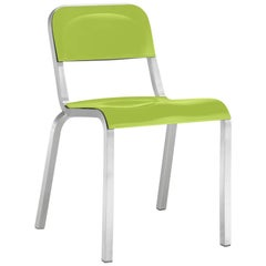Emeco 1951 Stacking Chair in Brushed Aluminum and Green by Adrian Van Hooydonk