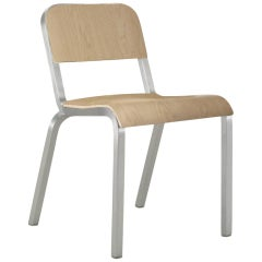 Emeco 1951 Stacking Chair in Brushed Aluminum and Maple by Adrian Van Hooydonk