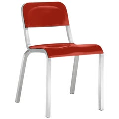 Emeco 1951 Stacking Chair in Brushed Aluminum and Red by Adrian Van Hooydonk